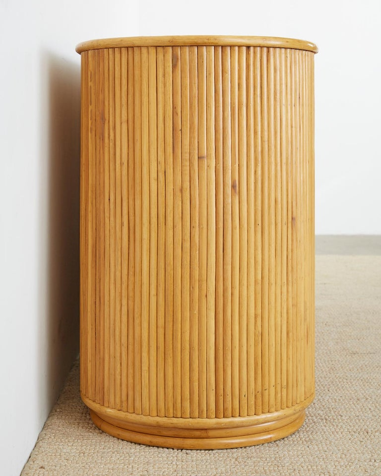 Hand-Crafted Gabriella Crespi Style Bamboo Rattan Sideboard Server For Sale