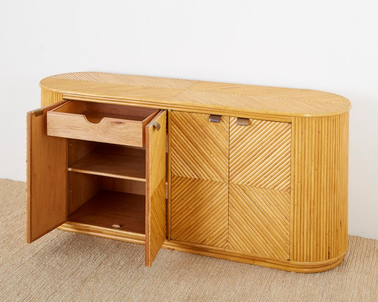 Gabriella Crespi Style Bamboo Rattan Sideboard Server In Good Condition For Sale In Oakland, CA