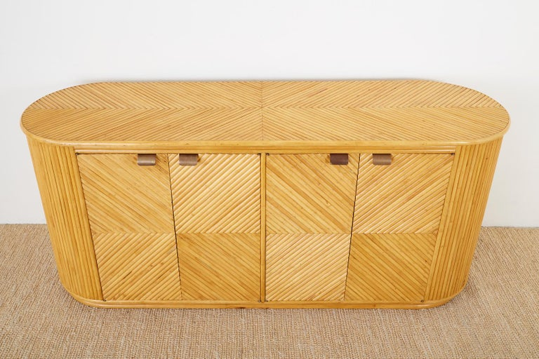 20th Century Gabriella Crespi Style Bamboo Rattan Sideboard Server For Sale