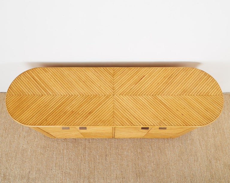 Brass Gabriella Crespi Style Bamboo Rattan Sideboard Server For Sale