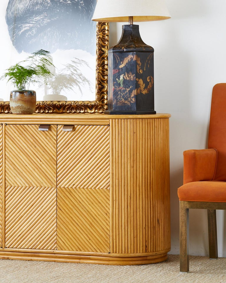 Gabriella Crespi Style Bamboo Rattan Sideboard Server For Sale 1