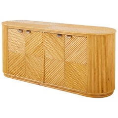 Gabriella Crespi Style Bamboo Rattan Sideboard Server
