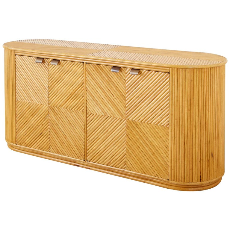 Gabriella Crespi Style Bamboo Rattan Sideboard Server For Sale
