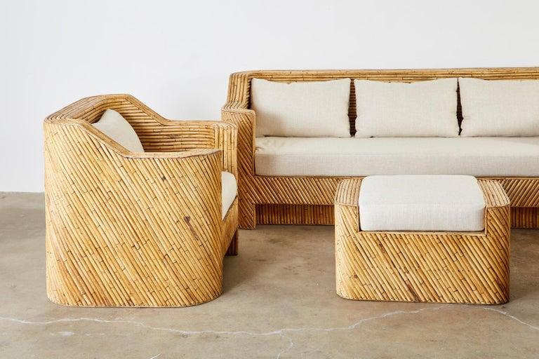 Organic Modern Bamboo Rattan Sofa and Lounge Chairs For Sale 4