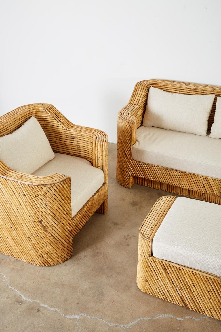 Organic Modern Bamboo Rattan Sofa and Lounge Chairs For Sale 5