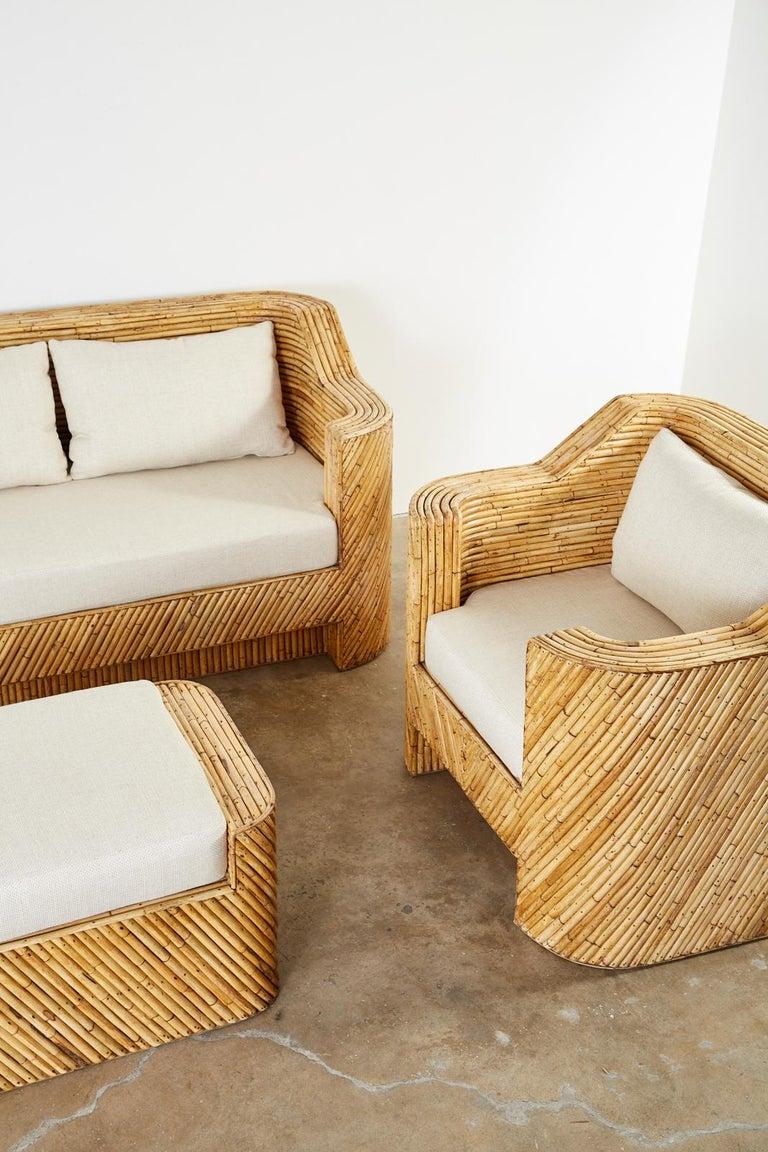 Organic Modern Bamboo Rattan Sofa and Lounge Chairs For Sale 6