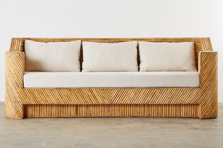 Organic Modern Bamboo Rattan Sofa and Lounge Chairs For Sale 7