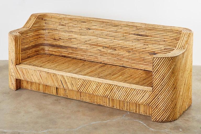 Organic Modern Bamboo Rattan Sofa and Lounge Chairs For Sale 8