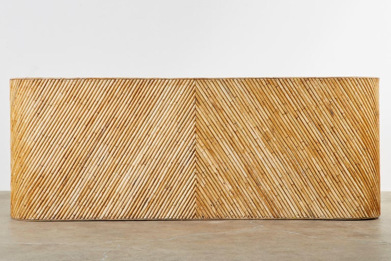 Organic Modern Bamboo Rattan Sofa and Lounge Chairs For Sale 9