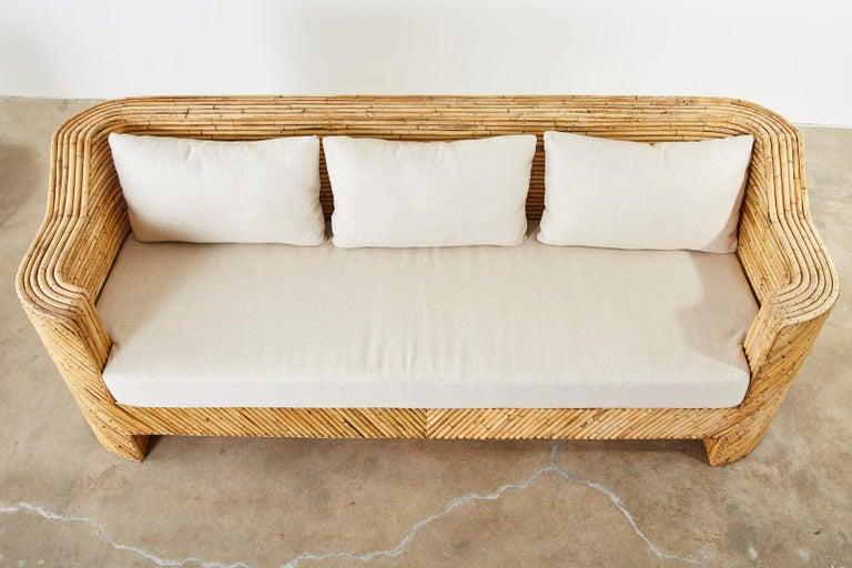 Organic Modern Bamboo Rattan Sofa and Lounge Chairs For Sale 12