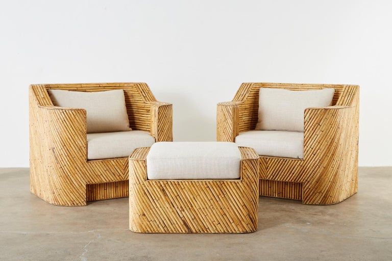 Hollywood Regency Organic Modern Bamboo Rattan Sofa and Lounge Chairs For Sale
