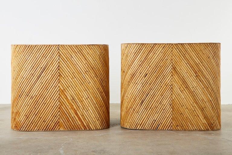 Organic Modern Bamboo Rattan Sofa and Lounge Chairs For Sale 1