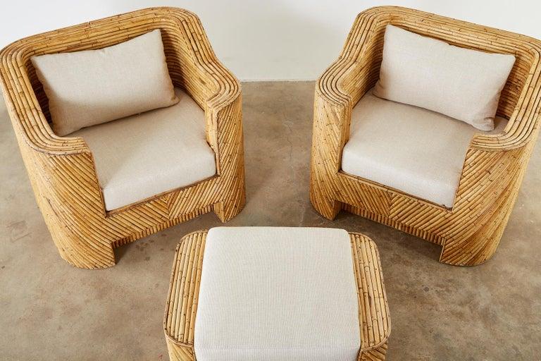 Organic Modern Bamboo Rattan Sofa and Lounge Chairs For Sale 2