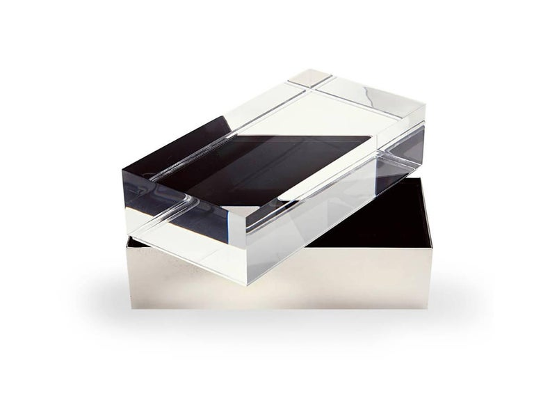 Precious box in Gabriella Crespi's style in extra clear Lucite and brass.