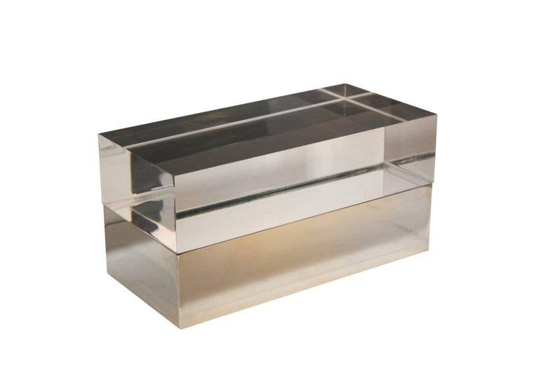 Gabriella Crespi Style Box in Lucite and Brass In New Condition For Sale In Rome, IT