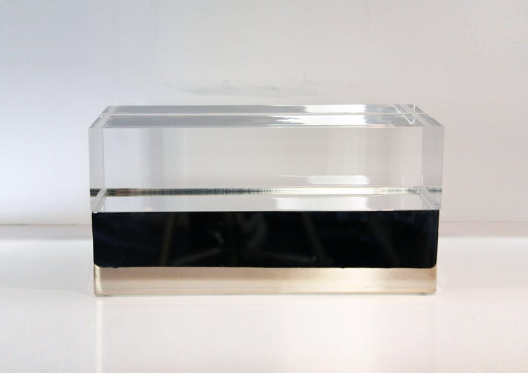 Contemporary Gabriella Crespi Style Box in Lucite and Brass For Sale