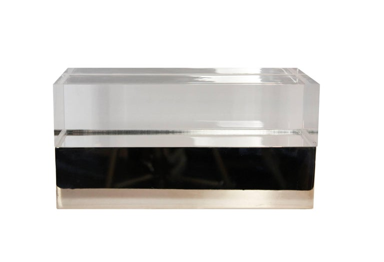 Gabriella Crespi Style Box in Lucite and Brass For Sale 2