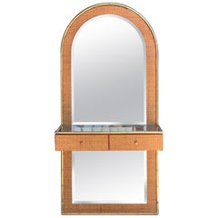 Gabriella Crespi Style Brass, Bamboo and Mirror Console Etagere, 1960s, Italy