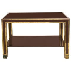 Gabriella Crespi Style Brown Lacquer and Brass Inlaid Table, Italian, circa 1960