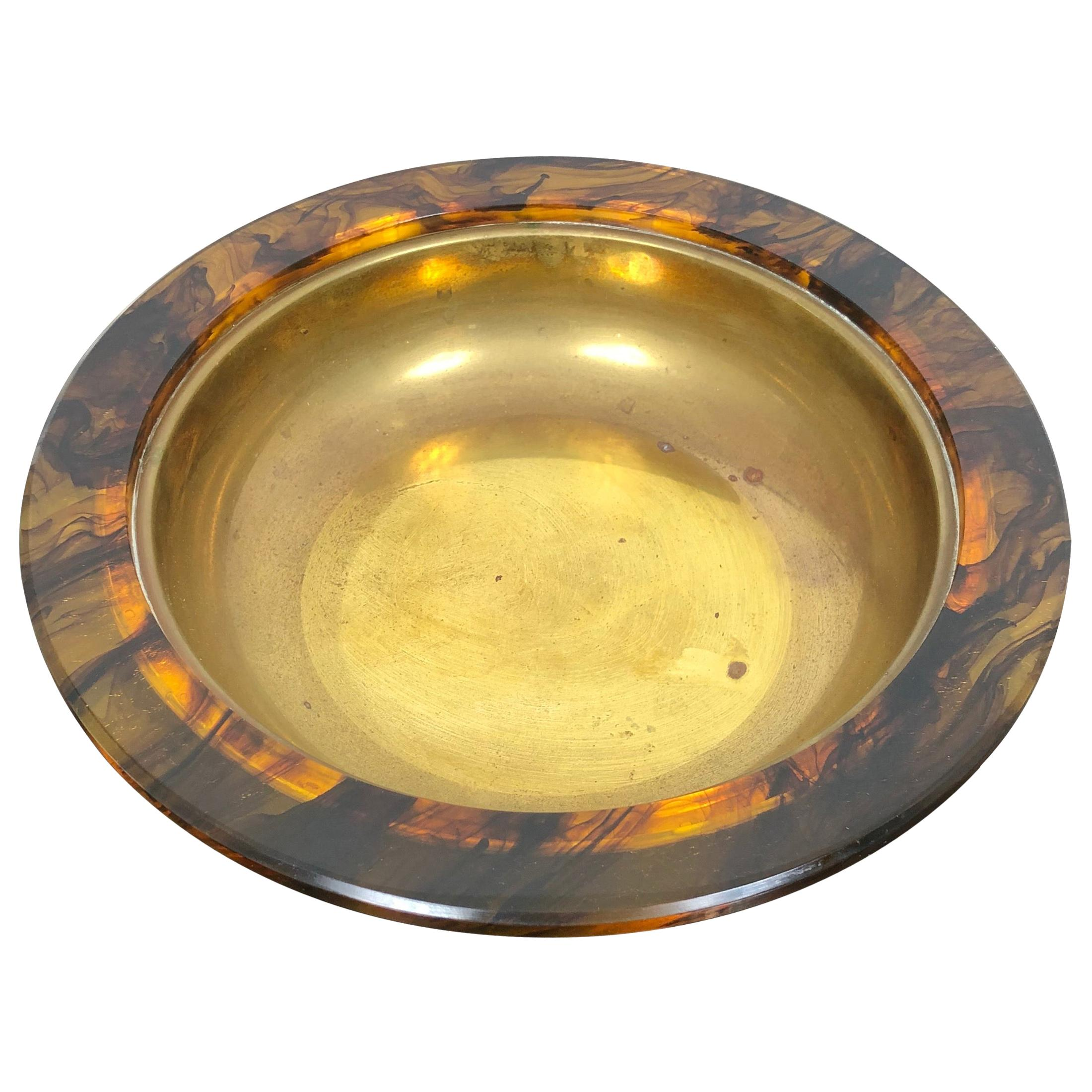 Centerpiece Plate in Tortoiseshell Lucite and Brass, 1960