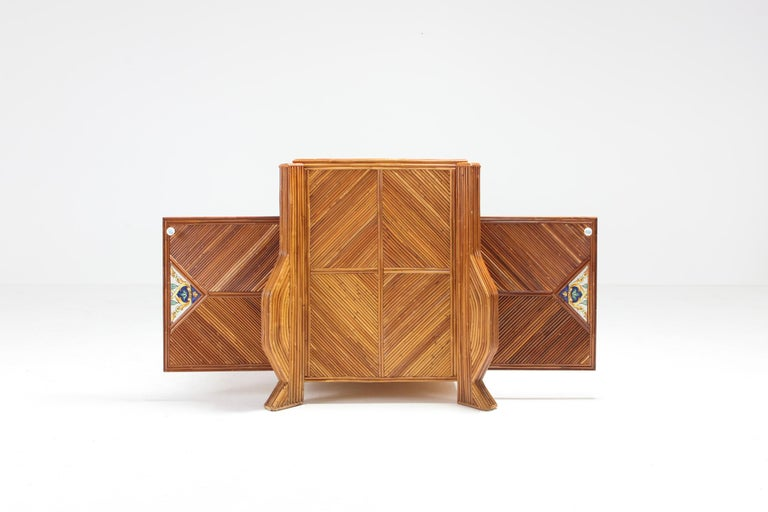 Credenza in Bamboo and Ceramic by Vivai del Sud For Sale 5