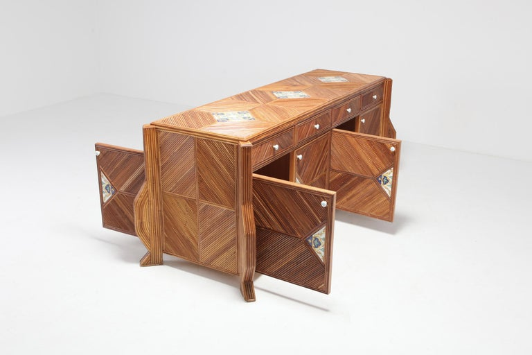 Credenza in Bamboo and Ceramic by Vivai del Sud For Sale 6