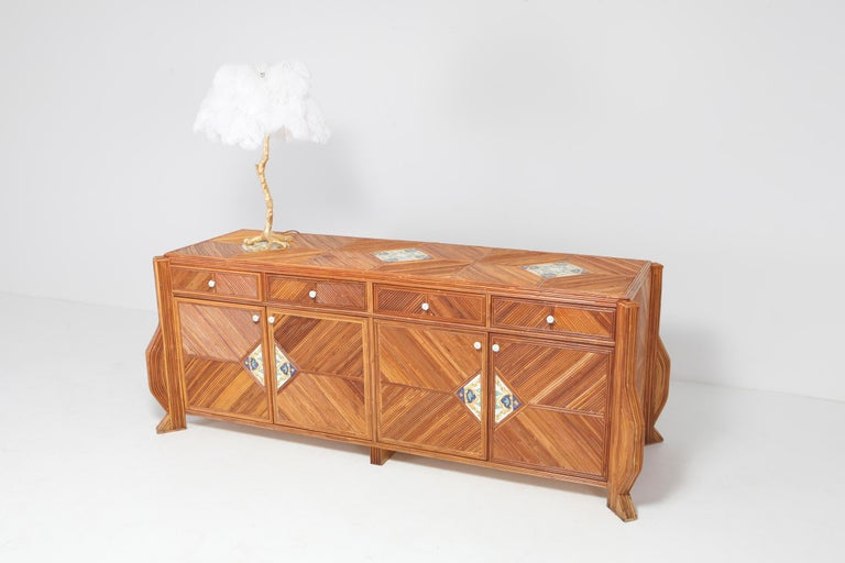 Credenza in Bamboo and Ceramic by Vivai del Sud For Sale 7