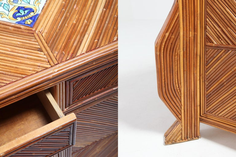 Credenza in Bamboo and Ceramic by Vivai del Sud For Sale 9