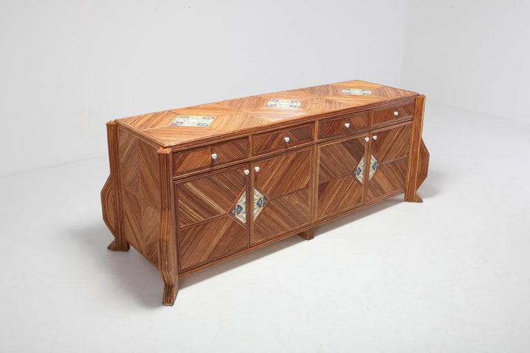 Hollywood Regency Credenza in Bamboo and Ceramic by Vivai del Sud For Sale