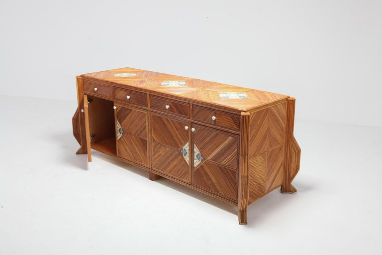 European Credenza in Bamboo and Ceramic by Vivai del Sud For Sale
