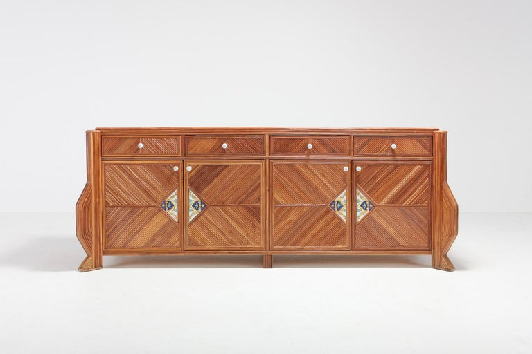 Credenza in Bamboo and Ceramic by Vivai del Sud In Excellent Condition For Sale In Antwerp, BE