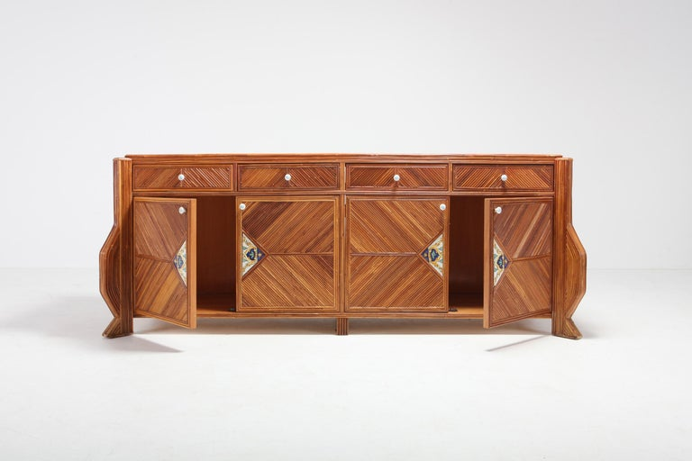 Late 20th Century Credenza in Bamboo and Ceramic by Vivai del Sud For Sale