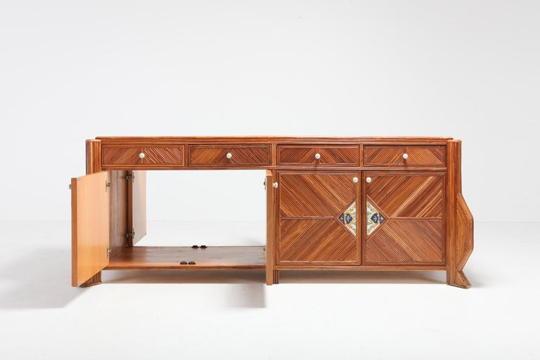 Credenza in Bamboo and Ceramic by Vivai del Sud For Sale 1