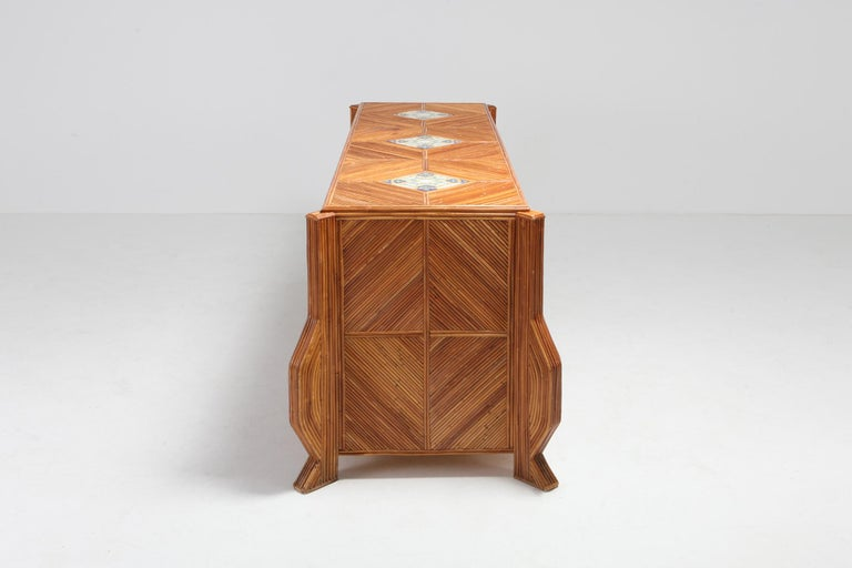 Credenza in Bamboo and Ceramic by Vivai del Sud For Sale 2