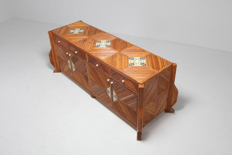 Credenza in Bamboo and Ceramic by Vivai del Sud For Sale 3