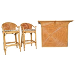 Gabriella Crespi Style Hollywood Regency Pencil Reed Dry Bar with Stools