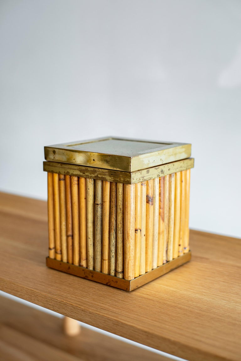 Gabriella Crespi Style Ice Bucket with bamboo, brass  Complete with a clear insert for the ice  measures 6 1/8