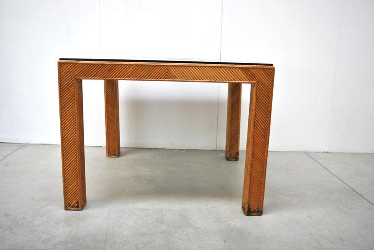 Mid-Century Modern Italian Midcentury Rattan Table, Early 1970s For Sale