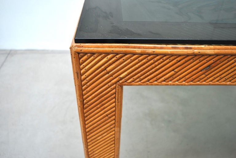 Late 20th Century Italian Midcentury Rattan Table, Early 1970s For Sale