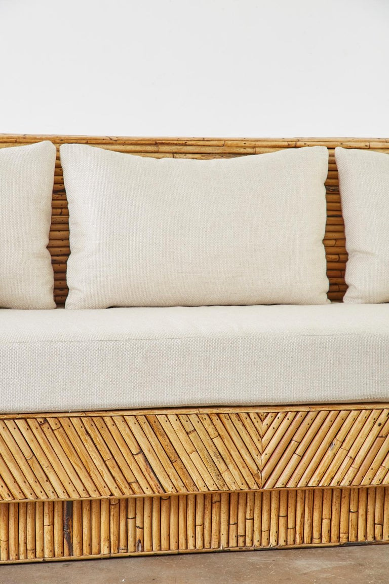 Hollywood Regency Organic Modern Bamboo Rattan Sofa For Sale 8