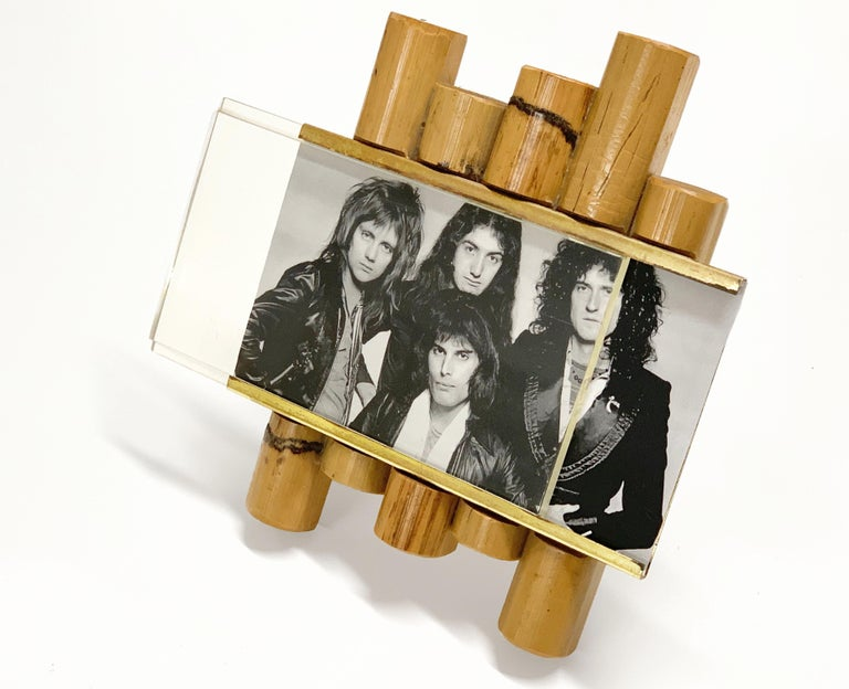 Gabriella Crespi Style Photo Frame in Bamboo, Lucite and Brass, Italy, 1970s For Sale 6