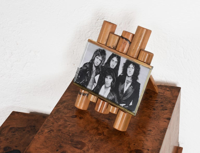 Mid-Century Modern Gabriella Crespi Style Photo Frame in Bamboo, Lucite and Brass, Italy, 1970s For Sale