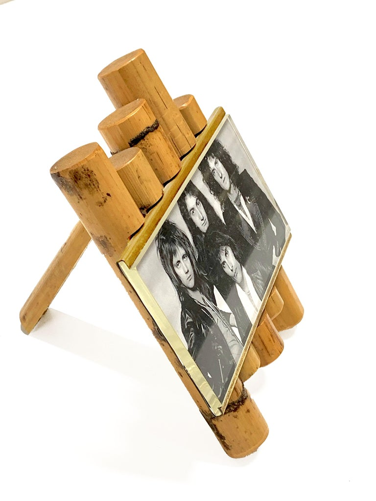Italian Gabriella Crespi Style Photo Frame in Bamboo, Lucite and Brass, Italy, 1970s For Sale