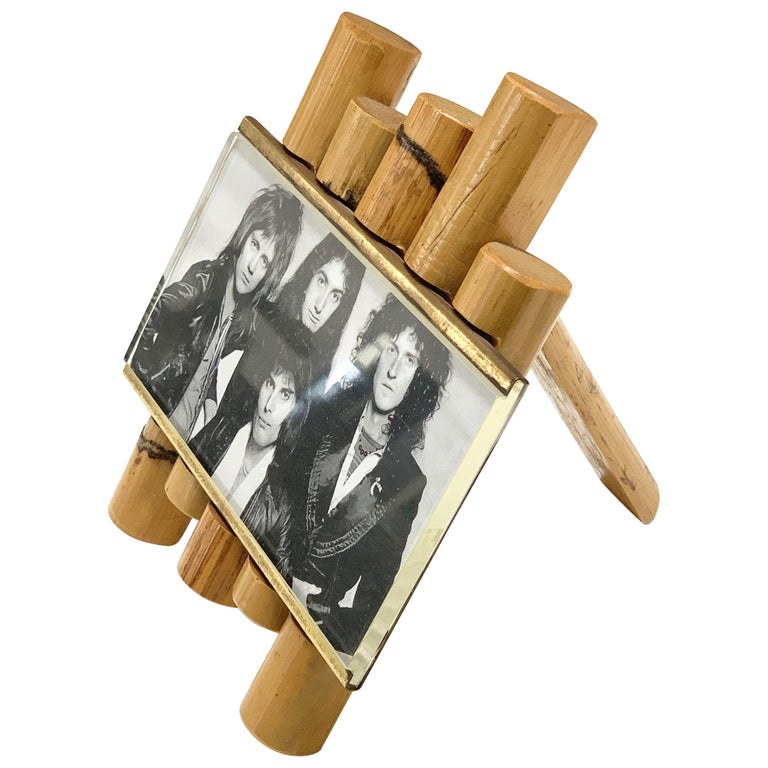 Gabriella Crespi Style Photo Frame in Bamboo, Lucite and Brass, Italy, 1970s For Sale