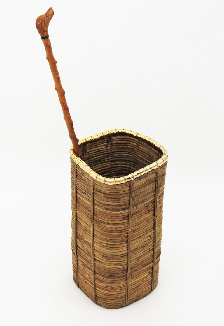 Mid-Century Modern Rattan and Bamboo Umbrella Stand with Faux Bamboo Brass Rim, Italy, 1970s For Sale