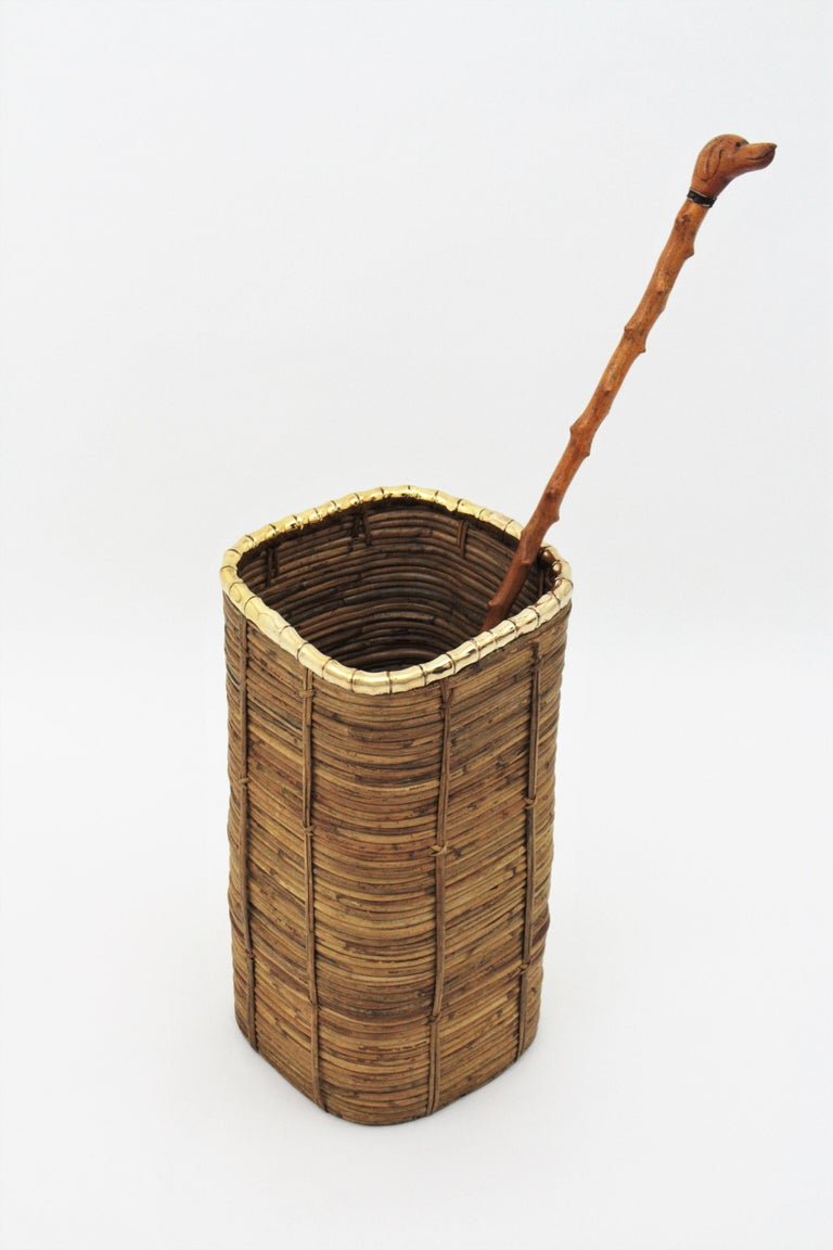 Italian Rattan and Bamboo Umbrella Stand with Faux Bamboo Brass Rim, Italy, 1970s For Sale