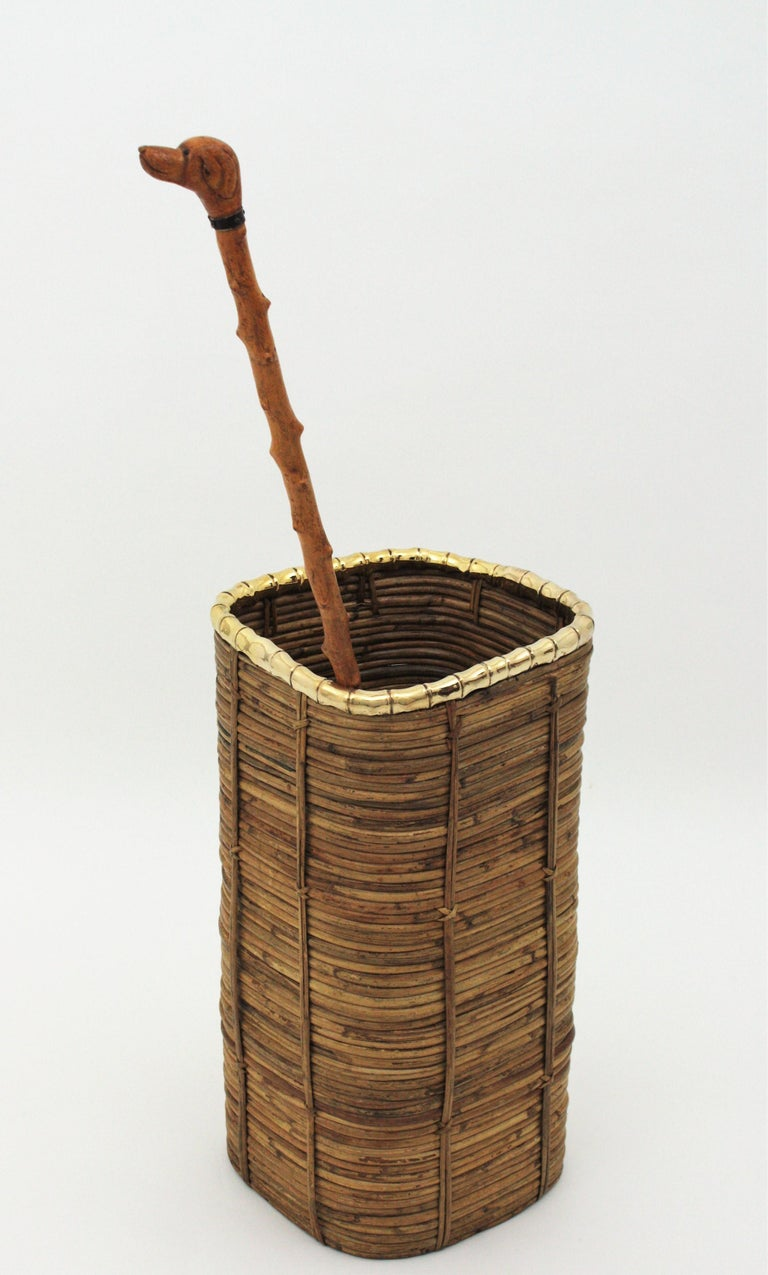 Rattan and Bamboo Umbrella Stand with Faux Bamboo Brass Rim, Italy, 1970s In Good Condition For Sale In Barcelona, ES