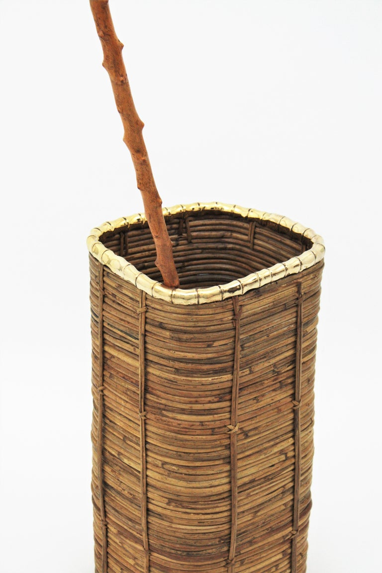 20th Century Rattan and Bamboo Umbrella Stand with Faux Bamboo Brass Rim, Italy, 1970s For Sale