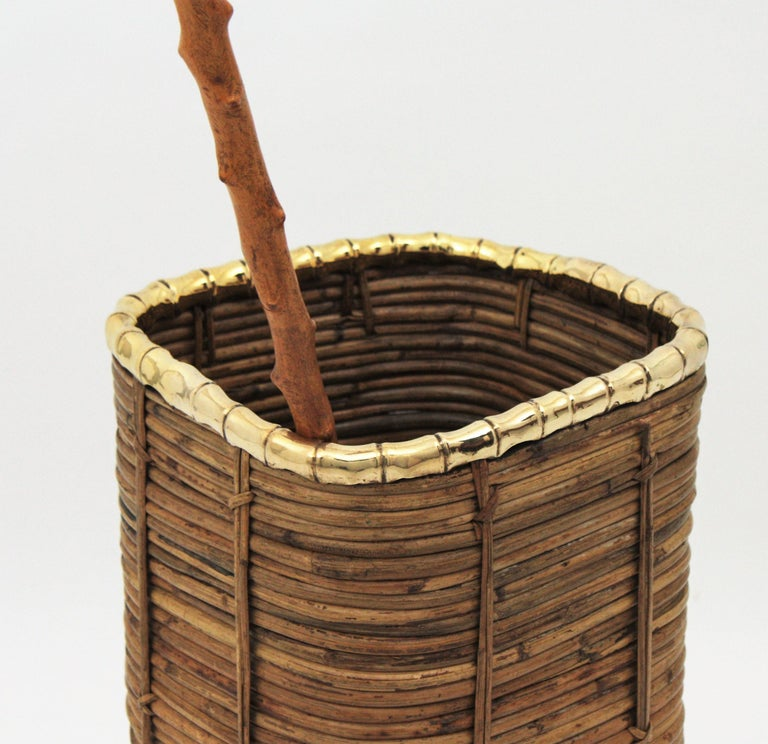 Rattan and Bamboo Umbrella Stand with Faux Bamboo Brass Rim, Italy, 1970s For Sale 1