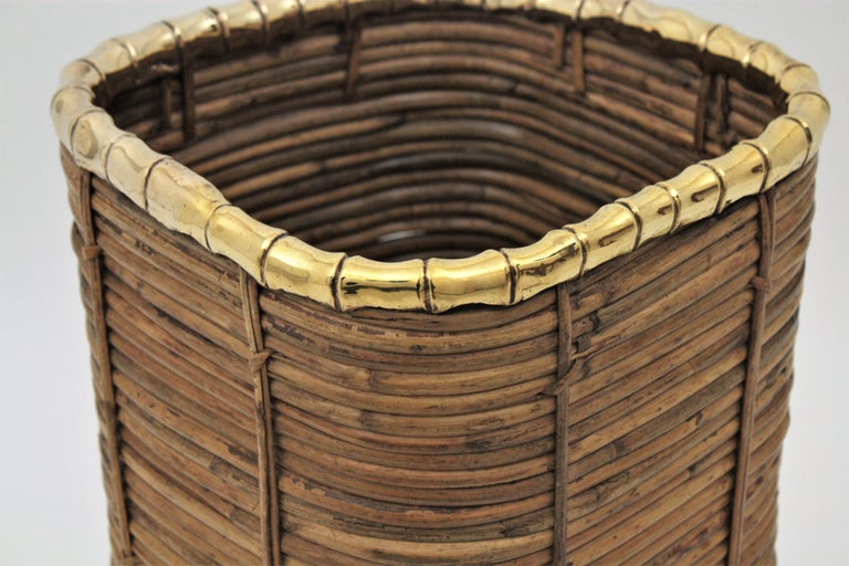 Rattan and Bamboo Umbrella Stand with Faux Bamboo Brass Rim, Italy, 1970s For Sale 2